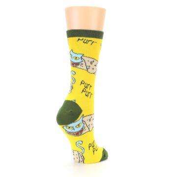 Image of Yellow Green Cat Burrito Women's Dress Socks (side-1-back-22)