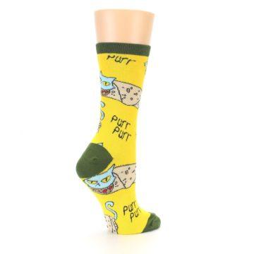 Image of Yellow Green Cat Burrito Women's Dress Socks (side-1-23)