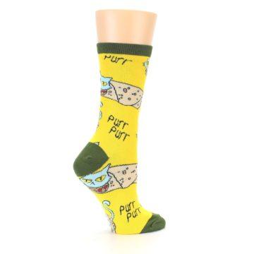 Image of Yellow Green Cat Burrito Women's Dress Socks (side-1-24)