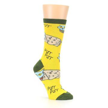 Image of Yellow Green Cat Burrito Women's Dress Socks (side-1-26)