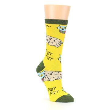 Image of Yellow Green Cat Burrito Women's Dress Socks (side-1-27)