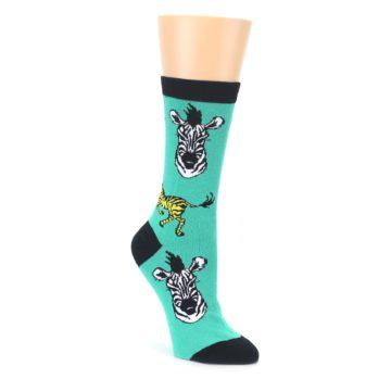 Green Black White Zebras Womens Dress Socks Oooh Yeah Socks