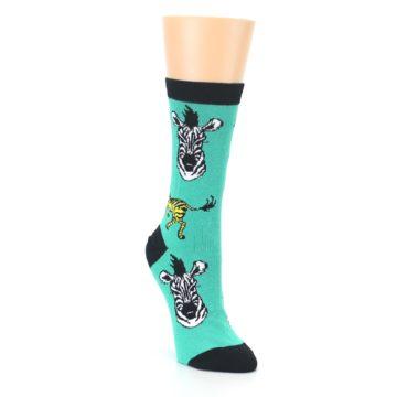 Image of Green Black White Zebras Women's Dress Socks (side-1-front-02)