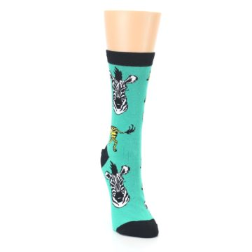 Image of Green Black White Zebras Women's Dress Socks (side-1-front-03)