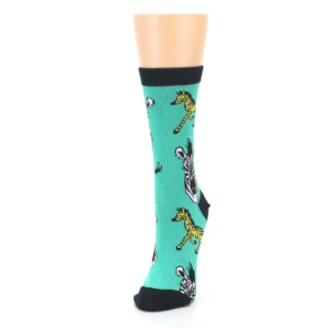 Image of Green Black White Zebras Women's Dress Socks (side-2-front-07)