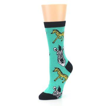Image of Green Black White Zebras Women's Dress Socks (side-2-09)