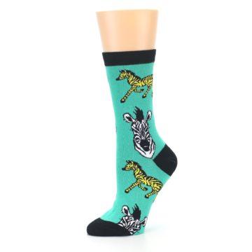 Image of Green Black White Zebras Women's Dress Socks (side-2-10)