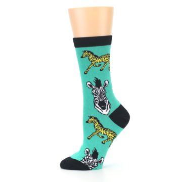 Image of Green Black White Zebras Women's Dress Socks (side-2-11)