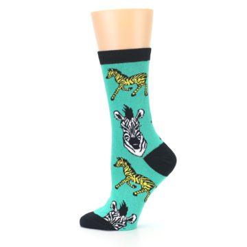 Image of Green Black White Zebras Women's Dress Socks (side-2-12)