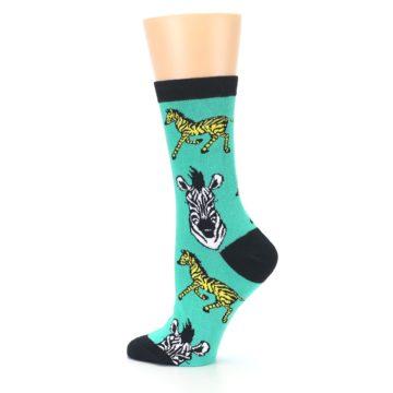 Image of Green Black White Zebras Women's Dress Socks (side-2-13)