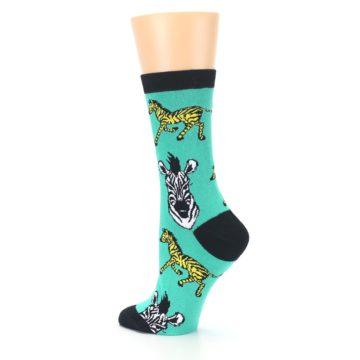 Image of Green Black White Zebras Women's Dress Socks (side-2-back-14)