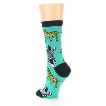 Image of Green Black White Zebras Women's Dress Socks (side-2-back-15)