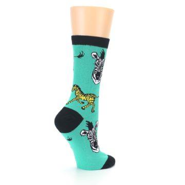 Image of Green Black White Zebras Women's Dress Socks (side-1-23)