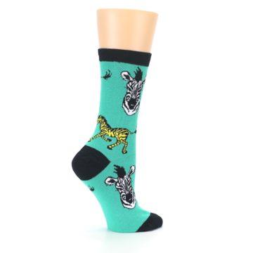 Image of Green Black White Zebras Women's Dress Socks (side-1-24)
