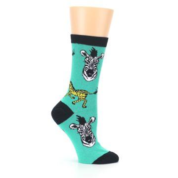 Image of Green Black White Zebras Women's Dress Socks (side-1-25)