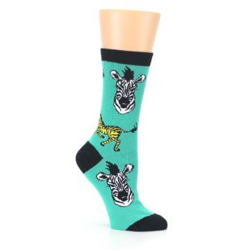 Image of Green Black White Zebras Women's Dress Socks (side-1-26)