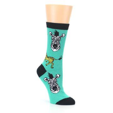 Image of Green Black White Zebras Women's Dress Socks (side-1-27)