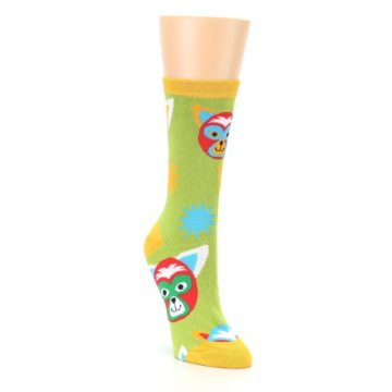 Image of Lime Lucha Mask Chihuahuas Women's Dress Socks (side-1-front-02)
