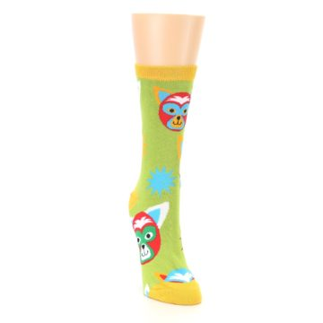 Image of Lime Lucha Mask Chihuahuas Women's Dress Socks (side-1-front-03)