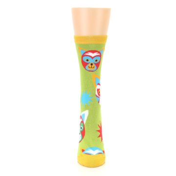 Image of Lime Lucha Mask Chihuahuas Women's Dress Socks (front-05)