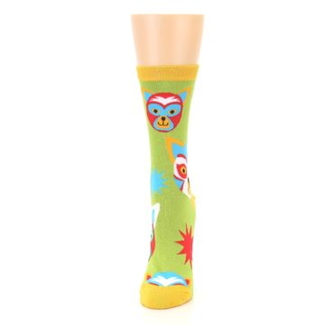Image of Lime Lucha Mask Chihuahuas Women's Dress Socks (side-2-front-06)