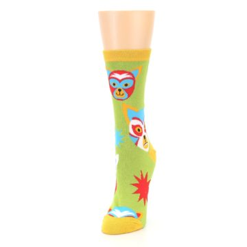 Image of Lime Lucha Mask Chihuahuas Women's Dress Socks (side-2-front-07)