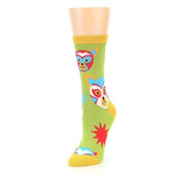 Image of Lime Lucha Mask Chihuahuas Women's Dress Socks (side-2-front-08)