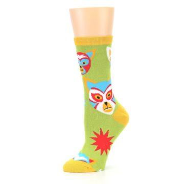 Image of Lime Lucha Mask Chihuahuas Women's Dress Socks (side-2-10)