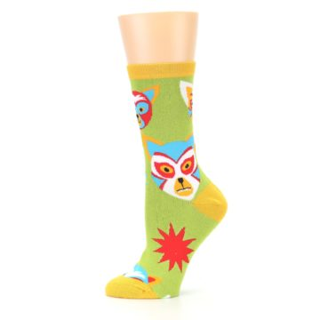 Image of Lime Lucha Mask Chihuahuas Women's Dress Socks (side-2-11)