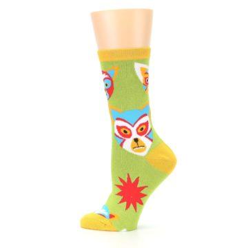 Image of Lime Lucha Mask Chihuahuas Women's Dress Socks (side-2-12)