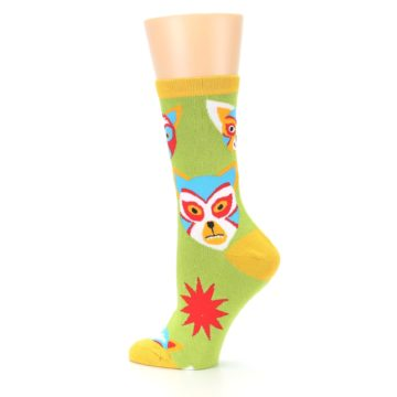 Image of Lime Lucha Mask Chihuahuas Women's Dress Socks (side-2-13)