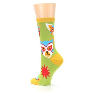 Image of Lime Lucha Mask Chihuahuas Women's Dress Socks (side-2-back-14)