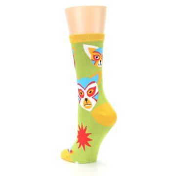 Image of Lime Lucha Mask Chihuahuas Women's Dress Socks (side-2-back-15)