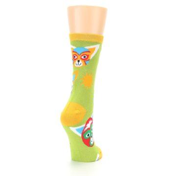 Image of Lime Lucha Mask Chihuahuas Women's Dress Socks (side-1-back-21)