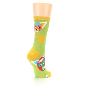 Image of Lime Lucha Mask Chihuahuas Women's Dress Socks (side-1-back-22)