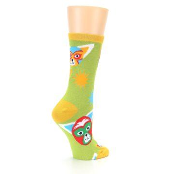 Image of Lime Lucha Mask Chihuahuas Women's Dress Socks (side-1-23)