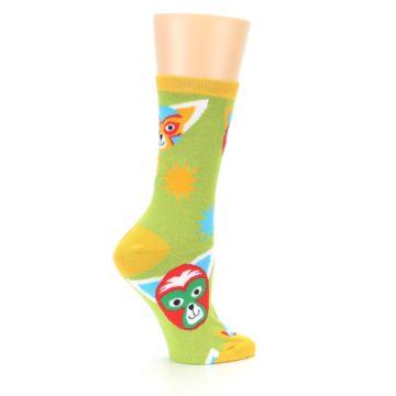 Image of Lime Lucha Mask Chihuahuas Women's Dress Socks (side-1-24)