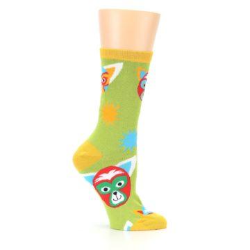 Image of Lime Lucha Mask Chihuahuas Women's Dress Socks (side-1-25)