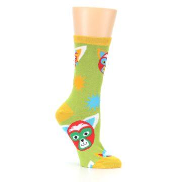 Image of Lime Lucha Mask Chihuahuas Women's Dress Socks (side-1-26)