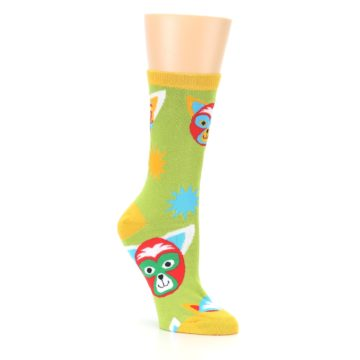Image of Lime Lucha Mask Chihuahuas Women's Dress Socks (side-1-27)