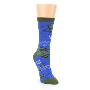 Image of Blue Green Alligators Women's Dress Socks (side-1-front-02)
