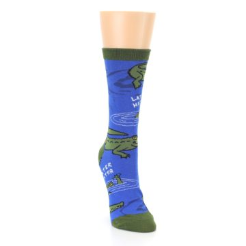 Image of Blue Green Alligators Women's Dress Socks (side-1-front-03)