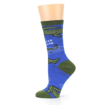 Image of Blue Green Alligators Women's Dress Socks (side-2-12)