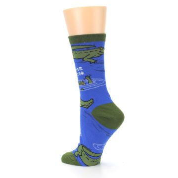 Image of Blue Green Alligators Women's Dress Socks (side-2-back-14)