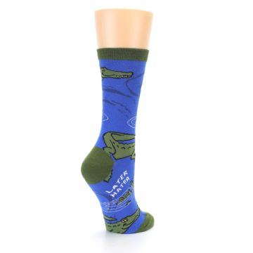 Image of Blue Green Alligators Women's Dress Socks (side-1-back-22)