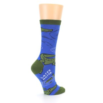 Image of Blue Green Alligators Women's Dress Socks (side-1-23)