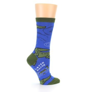 Image of Blue Green Alligators Women's Dress Socks (side-1-24)