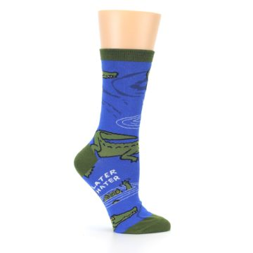 Image of Blue Green Alligators Women's Dress Socks (side-1-25)