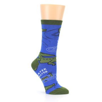 Image of Blue Green Alligators Women's Dress Socks (side-1-26)