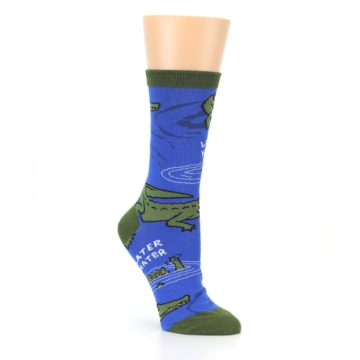 Image of Blue Green Alligators Women's Dress Socks (side-1-27)